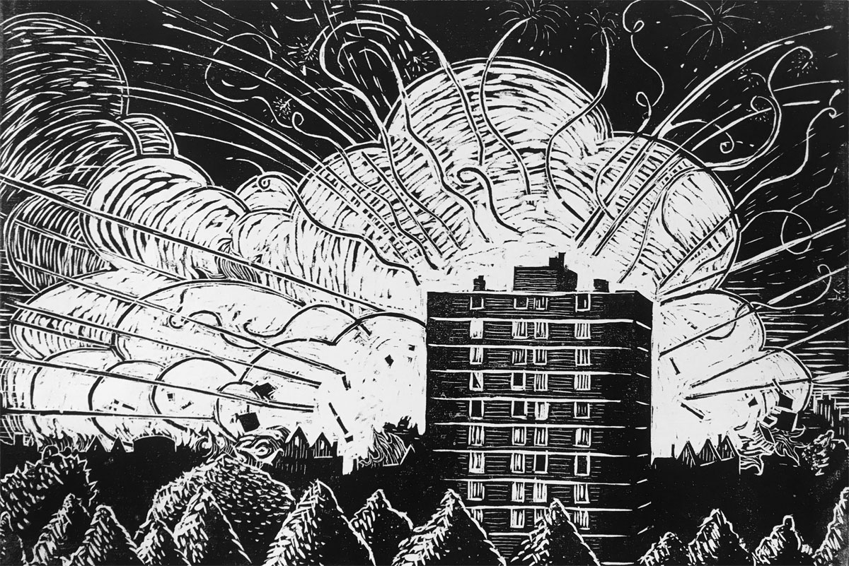 Craig Mains, Enschede Fireworks Factory Explostion, woodcut